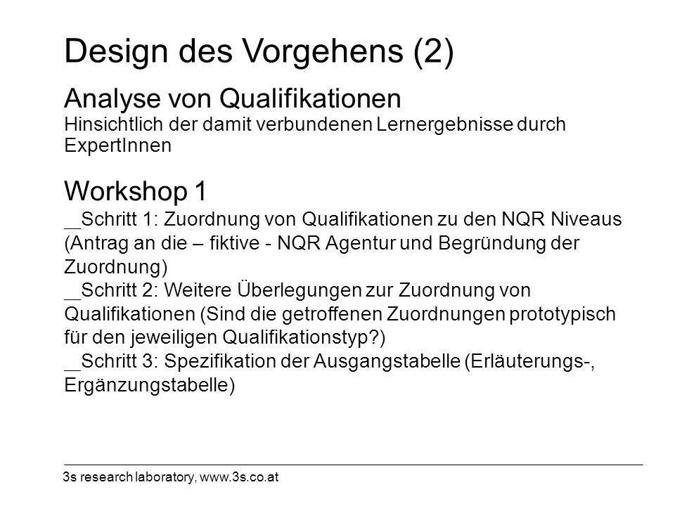 3s research laboratory, www.3s.co.at Design des Vorgehens (2) Analyse von Qualifikationen Hinsichtlich der damit verbundenen Lernergebnisse durch Expe