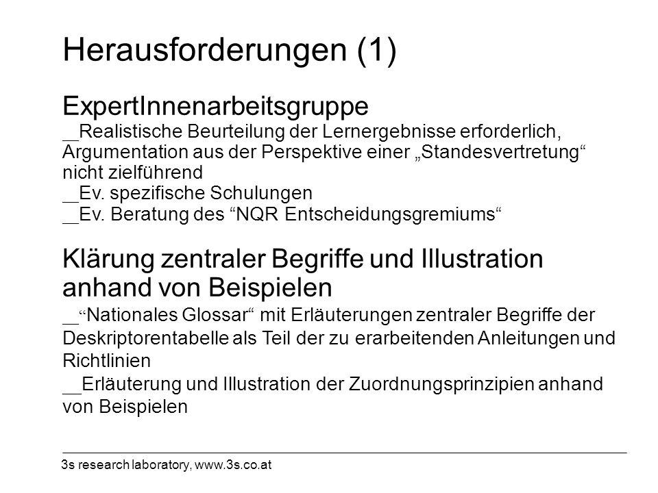 3s research laboratory, www.3s.co.at Herausforderungen (1) ExpertInnenarbeitsgruppe __ Realistische Beurteilung der Lernergebnisse erforderlich, Argum