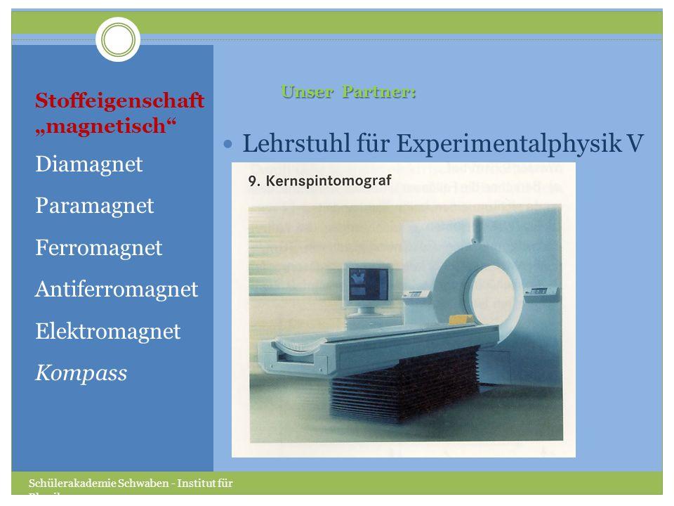 Stoffeigenschaft magnetisch Diamagnet Paramagnet Ferromagnet Antiferromagnet Elektromagnet Kompass Lehrstuhl für Experimentalphysik V Schülerakademie Schwaben - Institut für Physik Unser Partner: