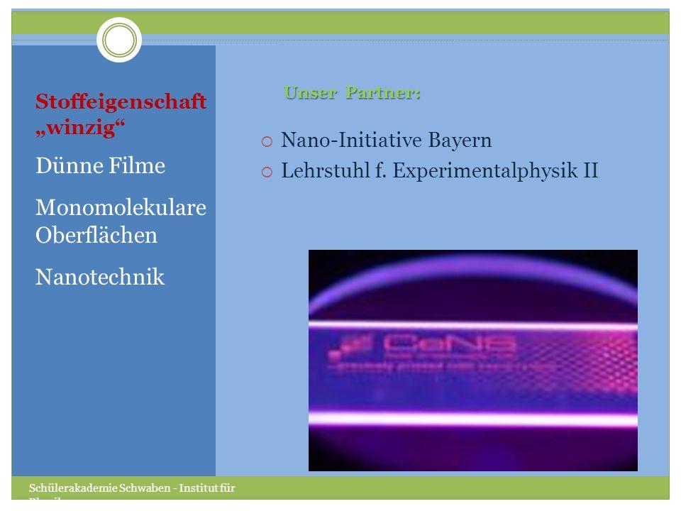Stoffeigenschaft winzig Dünne Filme Monomolekulare Oberflächen Nanotechnik Nano-Initiative Bayern Lehrstuhl f.