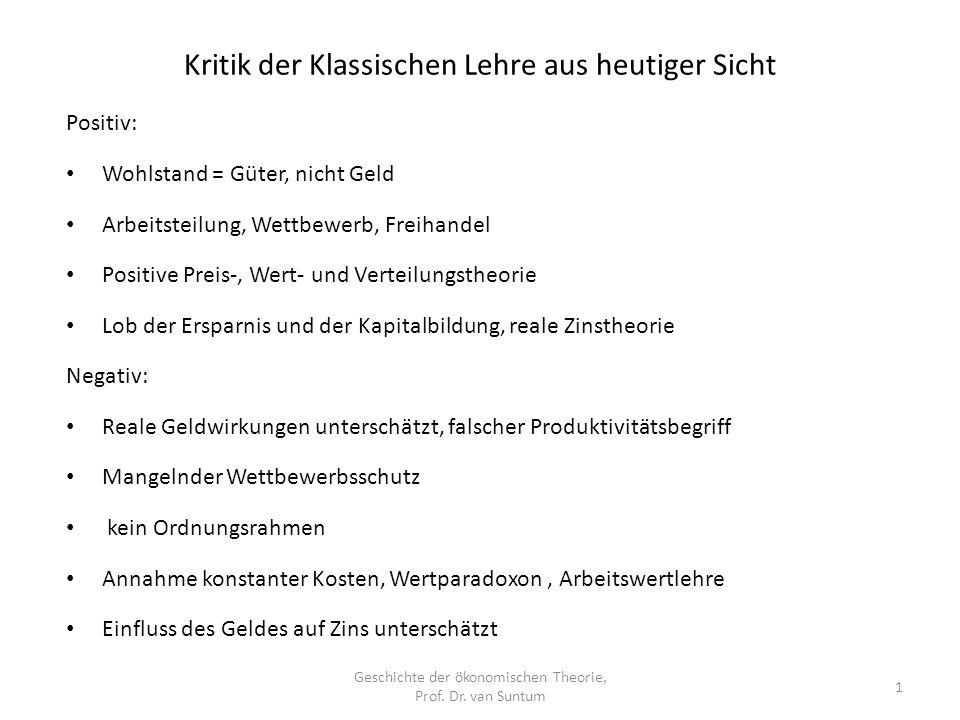Kritik der Klassischen Lehre aus heutiger Sicht Geschichte der ökonomischen Theorie, Prof.