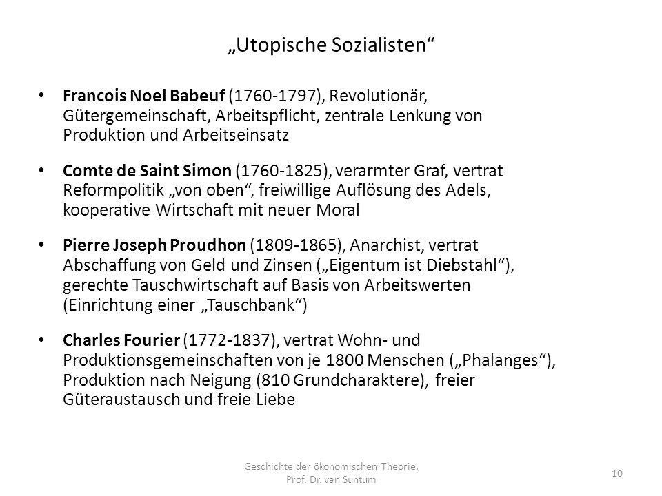Utopische Sozialisten Geschichte der ökonomischen Theorie, Prof.