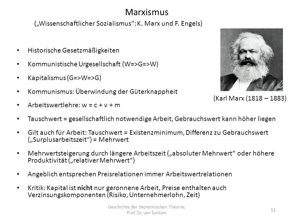 Marxismus Geschichte der ökonomischen Theorie, Prof.