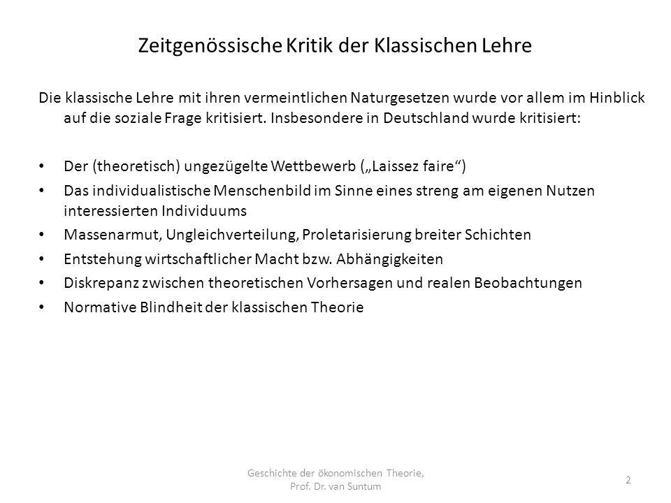 Zeitgenössische Kritik der Klassischen Lehre Geschichte der ökonomischen Theorie, Prof.