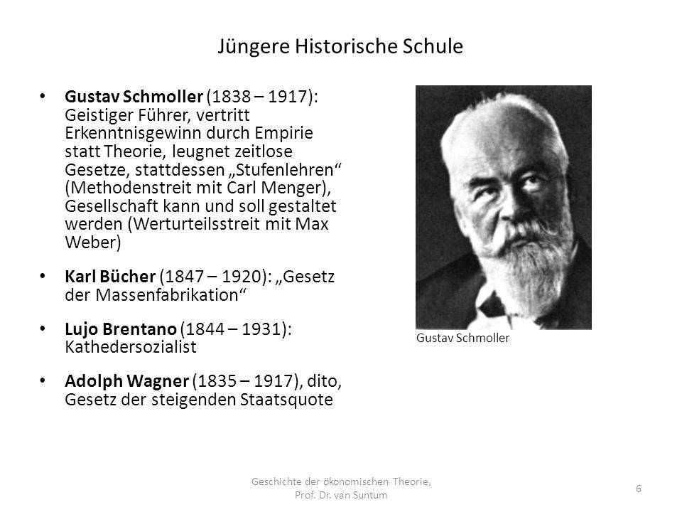 Jüngere Historische Schule Geschichte der ökonomischen Theorie, Prof.