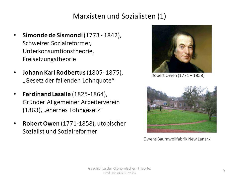 Marxisten und Sozialisten (1) Geschichte der ökonomischen Theorie, Prof.