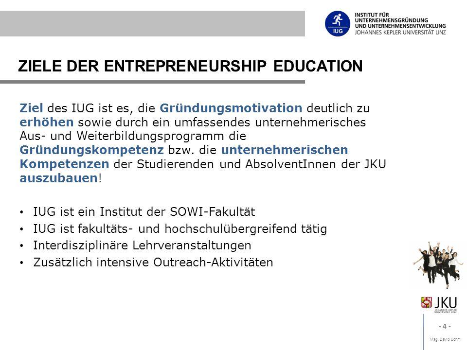 Mag. David Böhm - 4 - ZIELE DER ENTREPRENEURSHIP EDUCATION Ziel des IUG ist es, die Gründungsmotivation deutlich zu erhöhen sowie durch ein umfassende