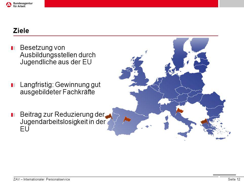 Seite 12 Ziele ______ ____ Seite 3 Besetzung von Ausbildungsstellen durch Jugendliche aus der EU Langfristig: Gewinnung gut ausgebildeter Fachkräfte B