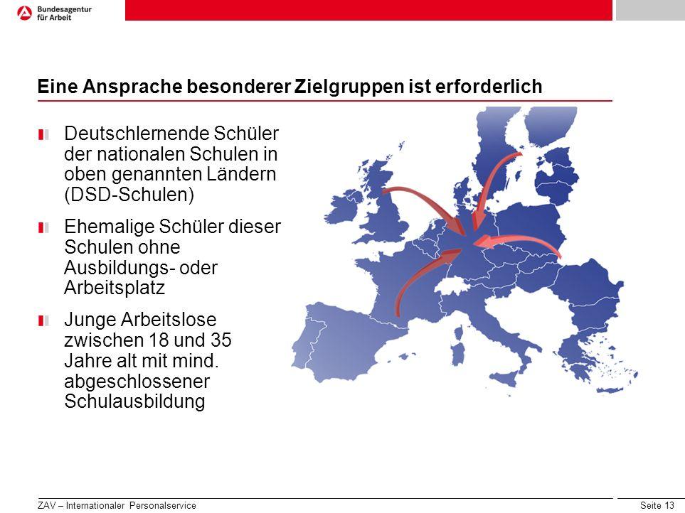 Seite 13 Eine Ansprache besonderer Zielgruppen ist erforderlich Deutschlernende Schüler der nationalen Schulen in oben genannten Ländern (DSD-Schulen)