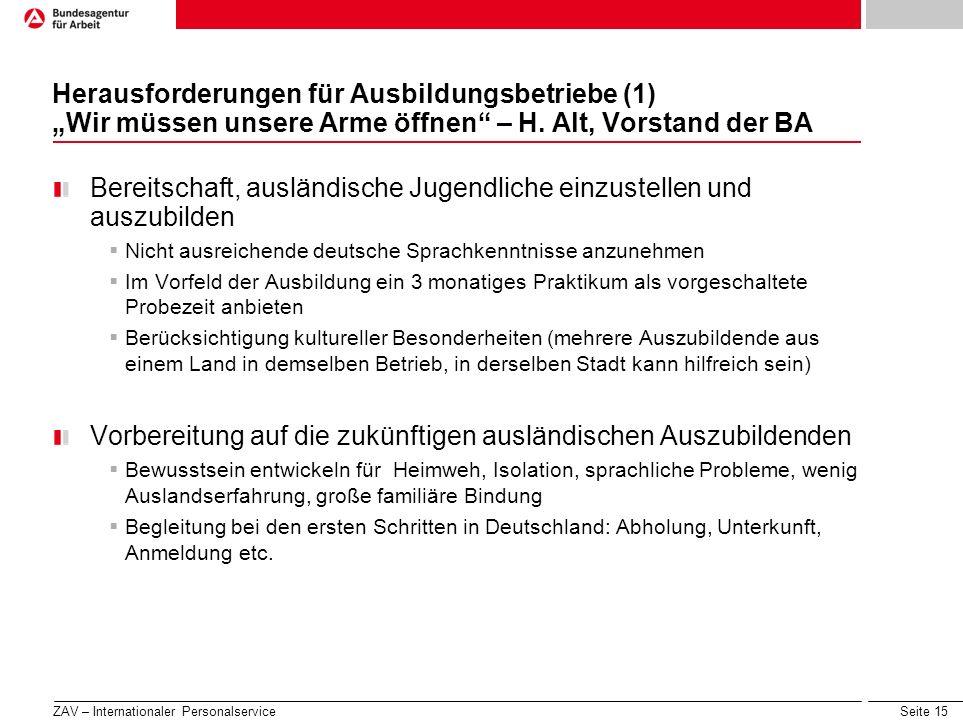 Seite 15 Herausforderungen für Ausbildungsbetriebe (1) Wir müssen unsere Arme öffnen – H. Alt, Vorstand der BA Bereitschaft, ausländische Jugendliche