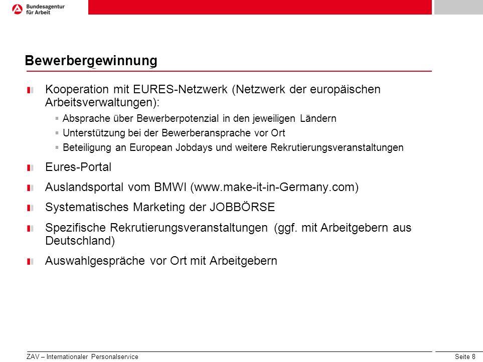 Seite 8 Wie die BA auf die Märkte von morgen reagiert... Bewerbergewinnung Kooperation mit EURES-Netzwerk (Netzwerk der europäischen Arbeitsverwaltung