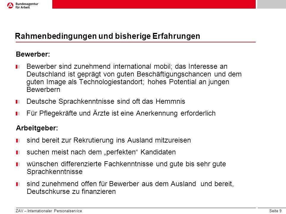 Seite 9 Rahmenbedingungen und bisherige Erfahrungen Bewerber: Bewerber sind zunehmend international mobil; das Interesse an Deutschland ist geprägt vo