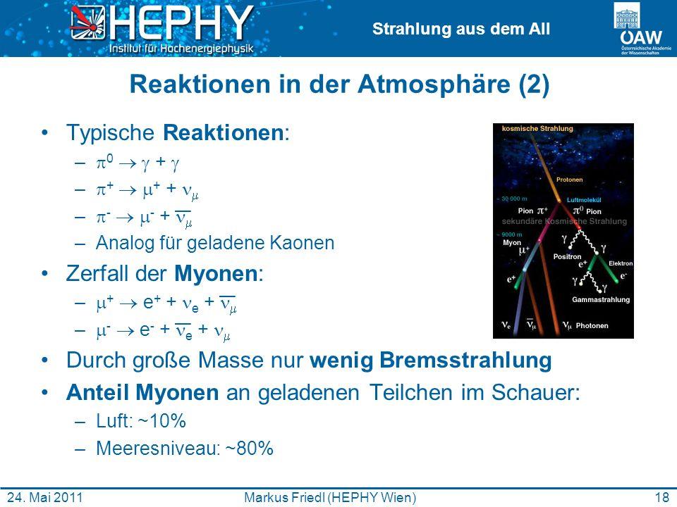 Strahlung aus dem All 18Markus Friedl (HEPHY Wien)24. Mai 2011 Reaktionen in der Atmosphäre (2) Typische Reaktionen: – 0 + – + + + – - - + –Analog für
