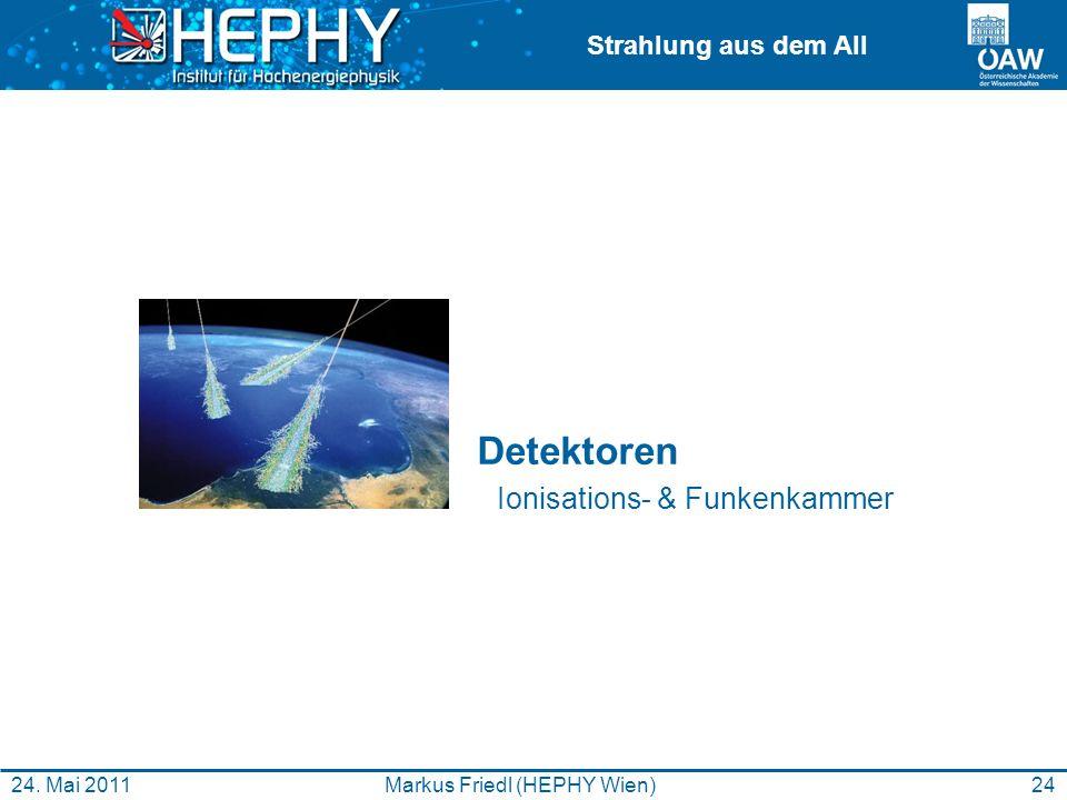 Strahlung aus dem All 24Markus Friedl (HEPHY Wien)24. Mai 2011 Detektoren Ionisations- & Funkenkammer