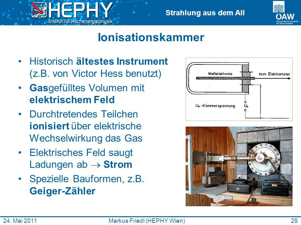 Strahlung aus dem All Ionisationskammer Historisch ältestes Instrument (z.B. von Victor Hess benutzt) Gasgefülltes Volumen mit elektrischem Feld Durch