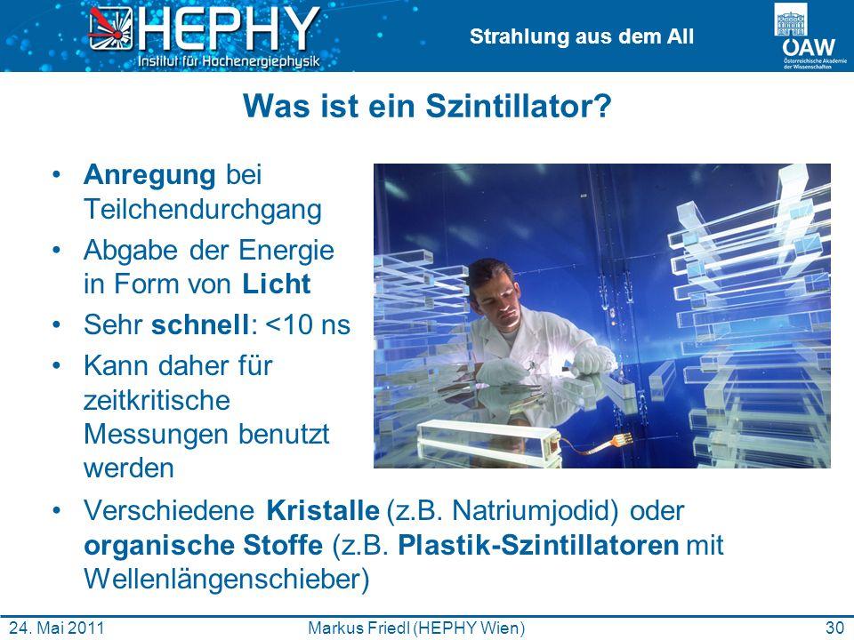 Strahlung aus dem All Was ist ein Szintillator? Anregung bei Teilchendurchgang Abgabe der Energie in Form von Licht Sehr schnell: <10 ns Kann daher fü