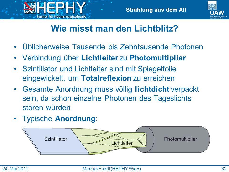 Strahlung aus dem All Wie misst man den Lichtblitz? Üblicherweise Tausende bis Zehntausende Photonen Verbindung über Lichtleiter zu Photomultiplier Sz