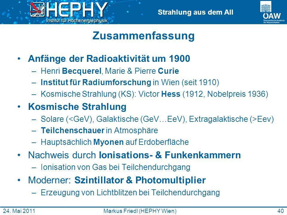 Strahlung aus dem All Zusammenfassung Anfänge der Radioaktivität um 1900 –Henri Becquerel, Marie & Pierre Curie –Institut für Radiumforschung in Wien