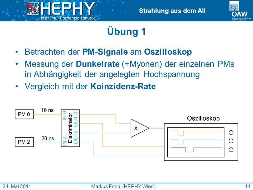 Strahlung aus dem All Übung 1 Betrachten der PM-Signale am Oszilloskop Messung der Dunkelrate (+Myonen) der einzelnen PMs in Abhängigkeit der angelegt
