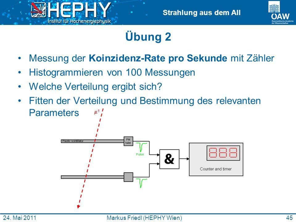 Strahlung aus dem All Übung 2 Messung der Koinzidenz-Rate pro Sekunde mit Zähler Histogrammieren von 100 Messungen Welche Verteilung ergibt sich? Fitt