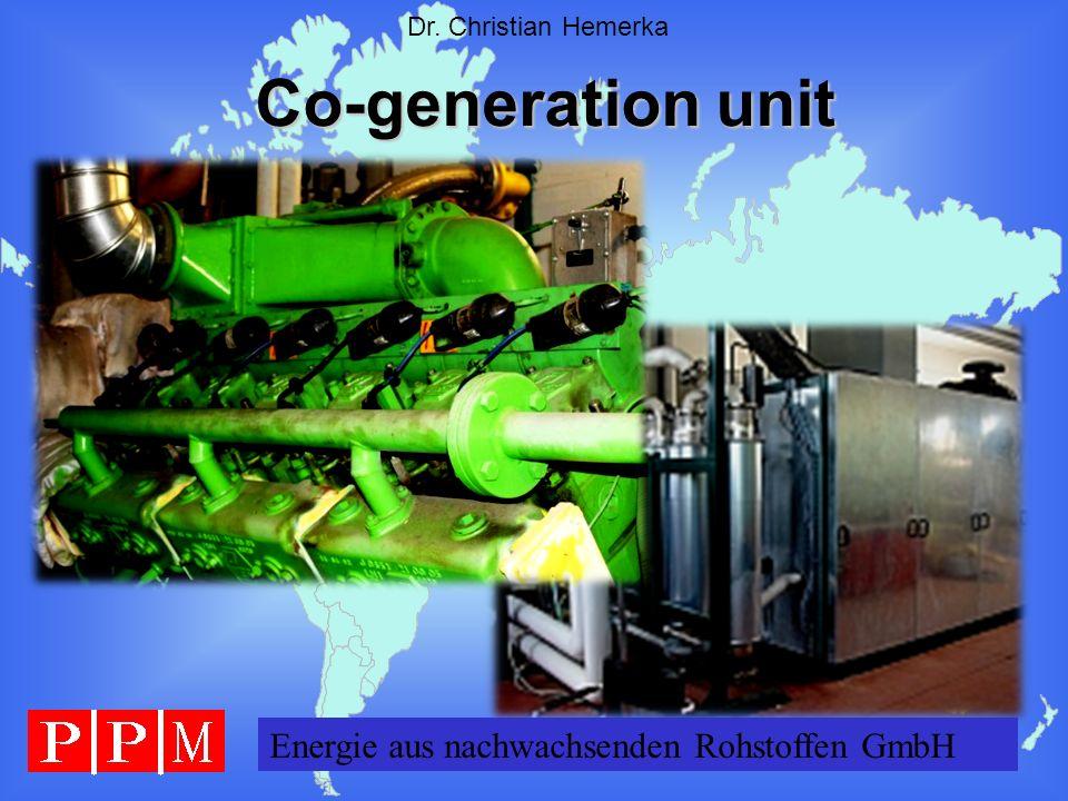Energie GERMANY GmbH Dr. Christian Hemerka Co-generation unit Energie aus nachwachsenden Rohstoffen GmbH