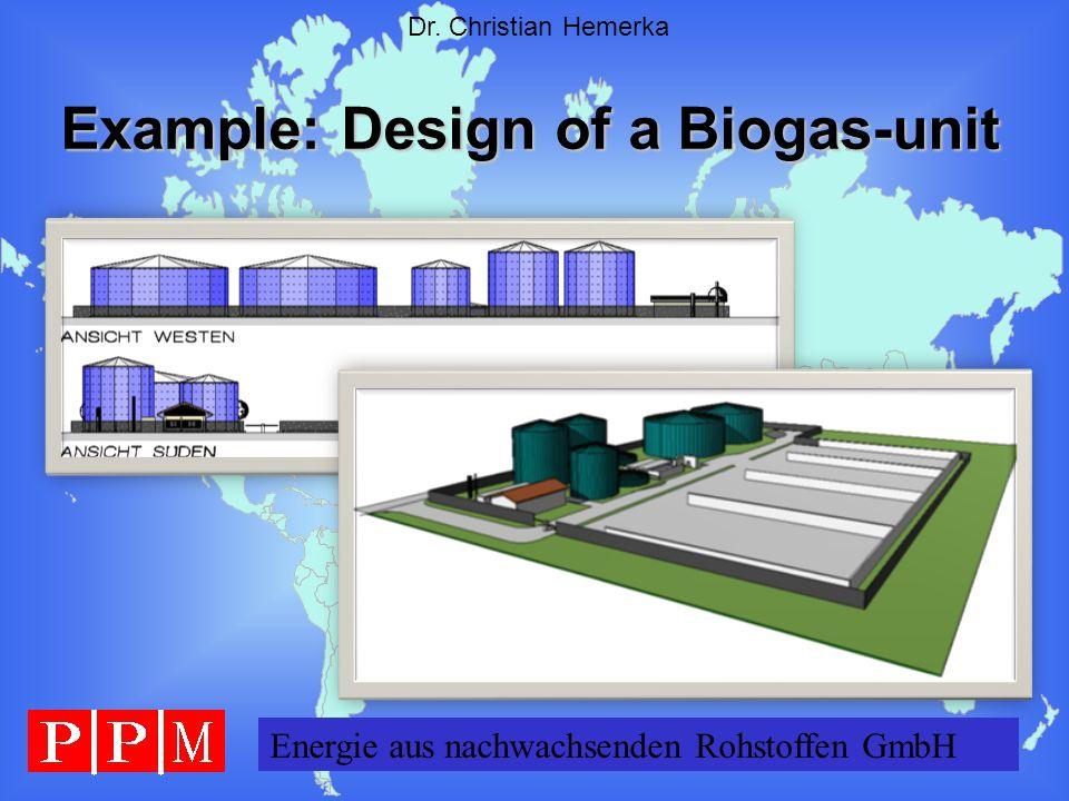 Energie GERMANY GmbH Dr. Christian Hemerka Example: Design of a Biogas-unit Energie aus nachwachsenden Rohstoffen GmbH