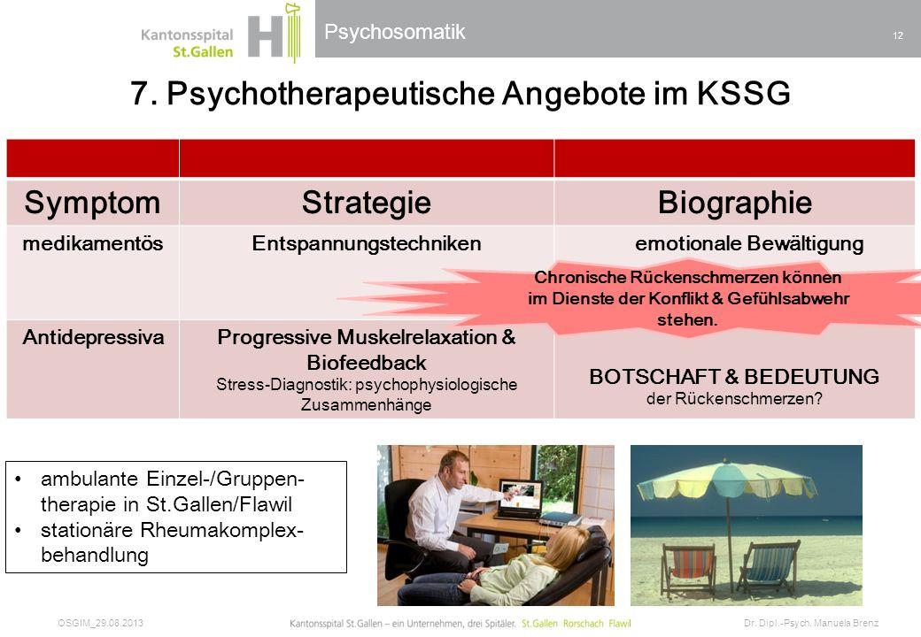 Psychosomatik – «Die Natur ist der Weg, wir brauchen ihn nur zu gehen.» 7. Psychotherapeutische Angebote im KSSG SymptomStrategieBiographie medikament