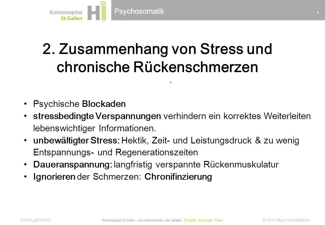 Psychosomatik 2. Zusammenhang von Stress und chronische Rückenschmerzen OSGIM_29.08.2013 Dr. Dipl.-Psych. Manuela Brenz 4. Psychische Blockaden stress