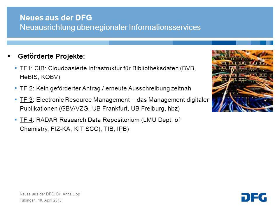Neues aus der DFG, Dr. Anne Lipp Tübingen, 10. April 2013 Neuausrichtung überregionaler Informationsservices Geförderte Projekte: TF1: CIB: Cloudbasie