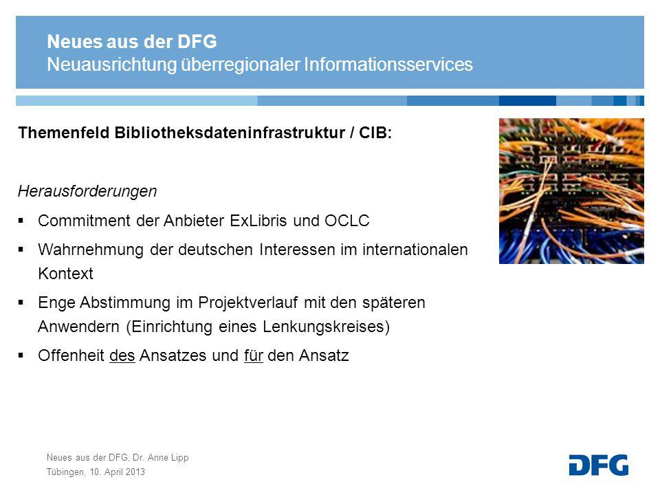 Neues aus der DFG, Dr. Anne Lipp Tübingen, 10. April 2013 Neuausrichtung überregionaler Informationsservices Themenfeld Bibliotheksdateninfrastruktur