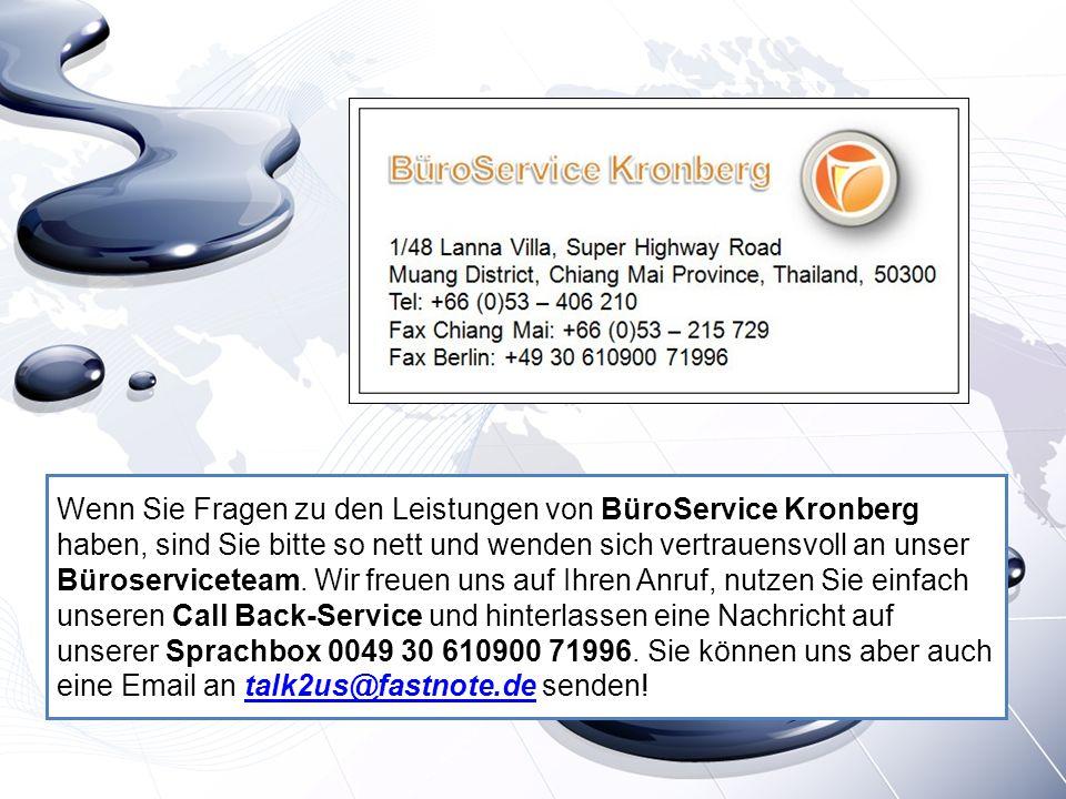 Wenn Sie Fragen zu den Leistungen von BüroService Kronberg haben, sind Sie bitte so nett und wenden sich vertrauensvoll an unser Büroserviceteam. Wir