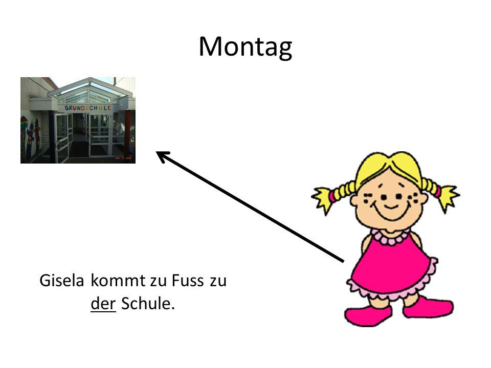 Montag Gisela kommt zu Fuss zu der Schule.