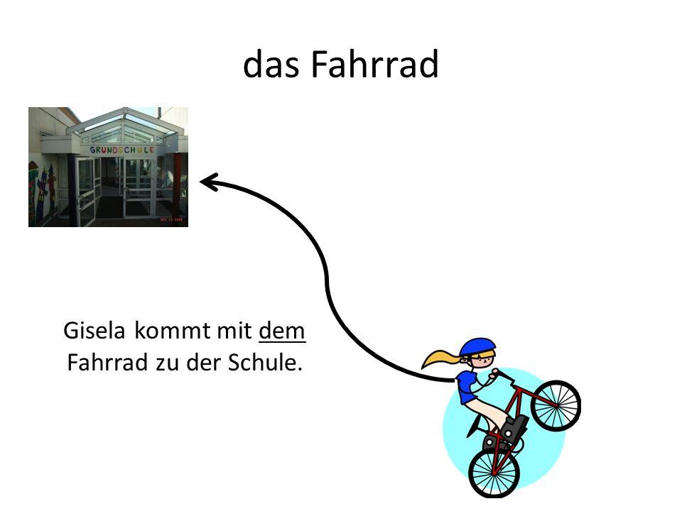 das Fahrrad Gisela kommt mit dem Fahrrad zu der Schule.