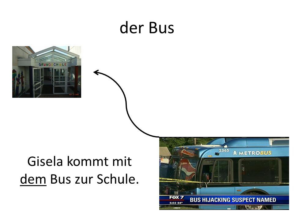der Bus Gisela kommt mit dem Bus zur Schule.