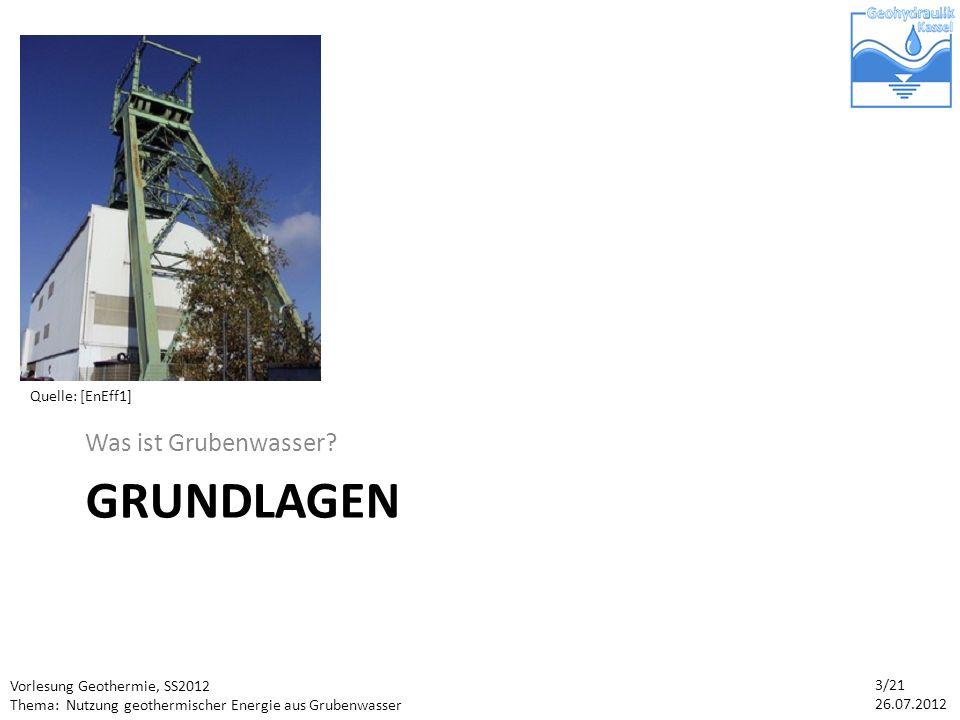 Vorlesung Geothermie, SS2012 Thema: Nutzung geothermischer Energie aus Grubenwasser 14/21 26.07.2012 Potenzial der Grubenwassernutzung Das Ruhrgebiet ist ein durchschnittlich warmer Standort (geothermische Tiefenstufe: 36m) Wassertemperaturniveau im Jahreslauf nahezu konstant: im Schnitt 25°C Quelle: [T]