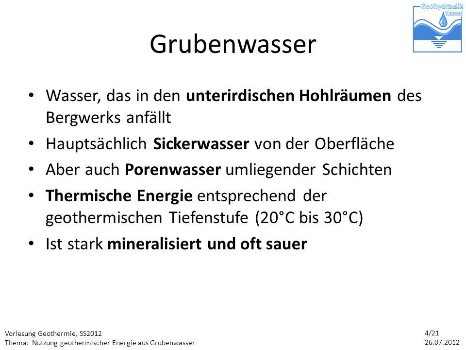Vorlesung Geothermie, SS2012 Thema: Nutzung geothermischer Energie aus Grubenwasser 4/21 26.07.2012 Grubenwasser Wasser, das in den unterirdischen Hohlräumen des Bergwerks anfällt Hauptsächlich Sickerwasser von der Oberfläche Aber auch Porenwasser umliegender Schichten Thermische Energie entsprechend der geothermischen Tiefenstufe (20°C bis 30°C) Ist stark mineralisiert und oft sauer
