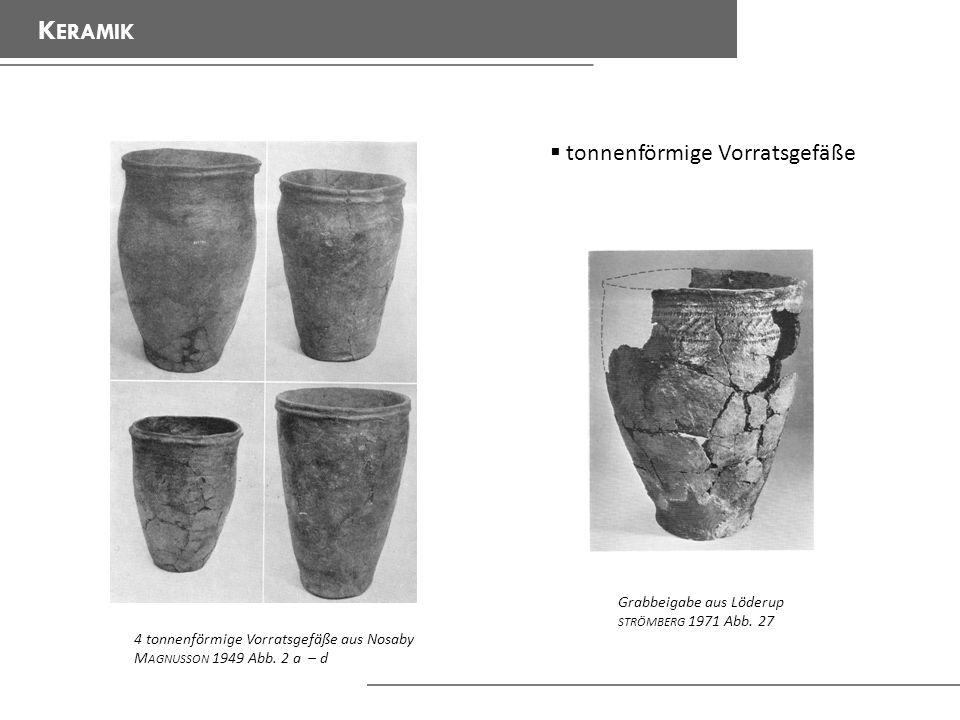 K ERAMIK tonnenförmige Vorratsgefäße 4 tonnenförmige Vorratsgefäße aus Nosaby M AGNUSSON 1949 Abb.