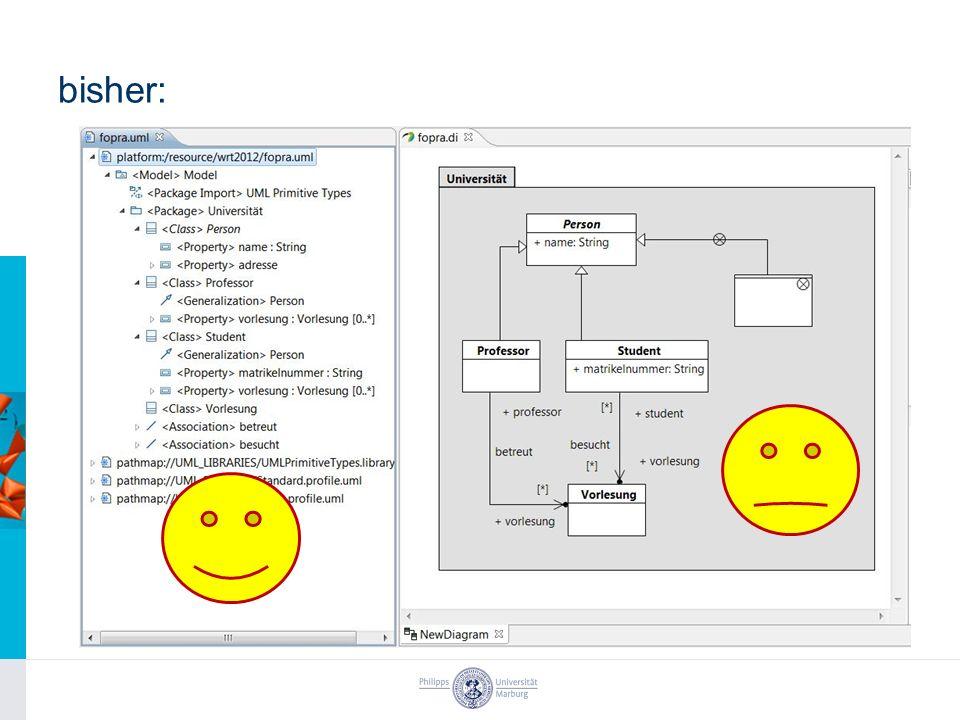 Aufgaben und Rahmendaten Aufgaben –Einarbeitung in EMF Refactor, Graphical Modeling Framework (GMF) und IBM Rational Software Architect (RSA) –Aufnahme der Anforderungen (z.B.