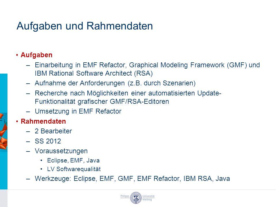 Aufgaben und Rahmendaten Aufgaben –Einarbeitung in EMF Refactor, Graphical Modeling Framework (GMF) und IBM Rational Software Architect (RSA) –Aufnahm