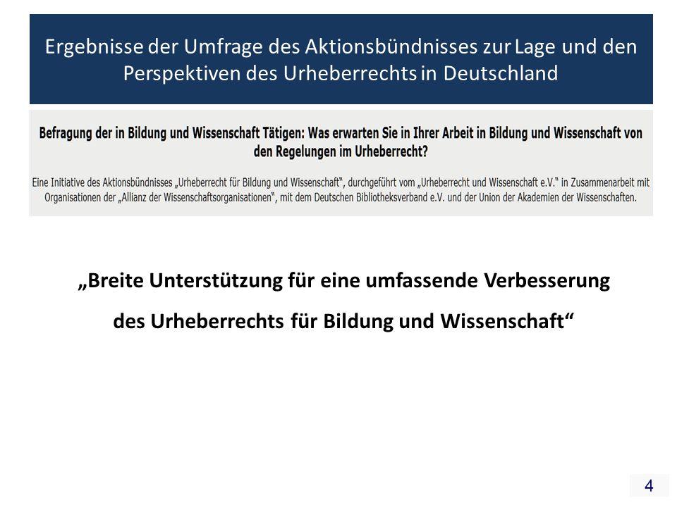 4 Ergebnisse der Umfrage des Aktionsbündnisses zur Lage und den Perspektiven des Urheberrechts in Deutschland Breite Unterstützung für eine umfassende Verbesserung des Urheberrechts für Bildung und Wissenschaft