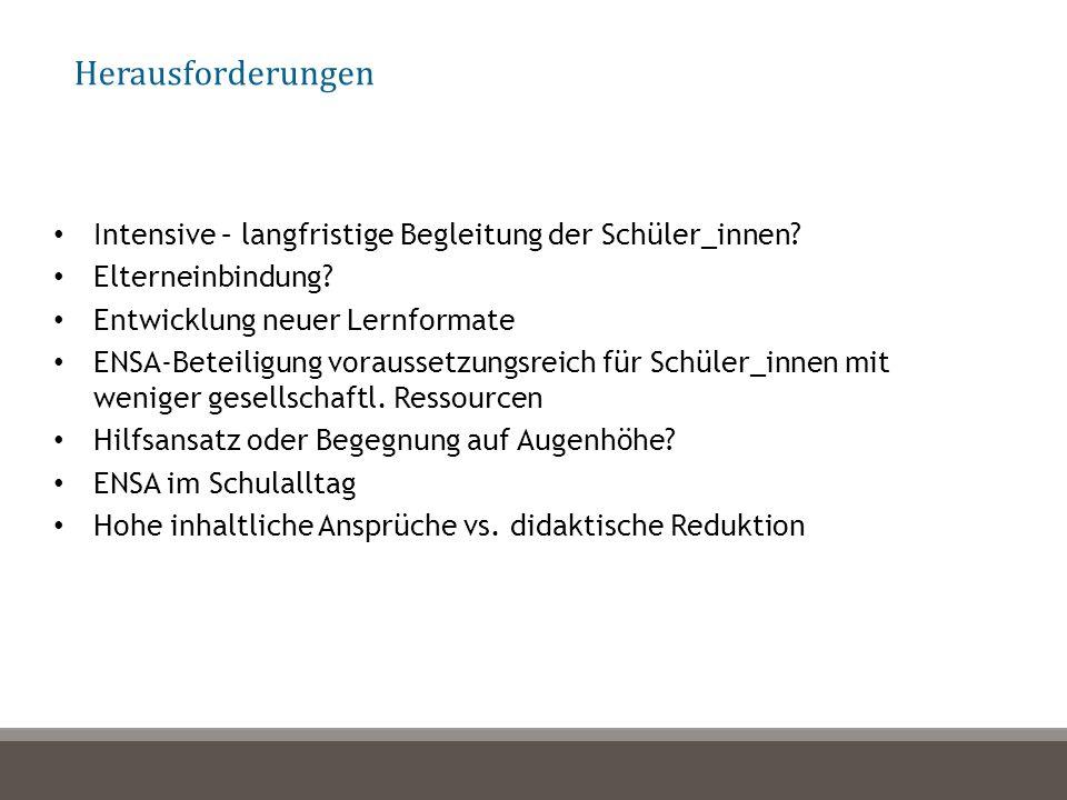 Intensive – langfristige Begleitung der Schüler_innen.