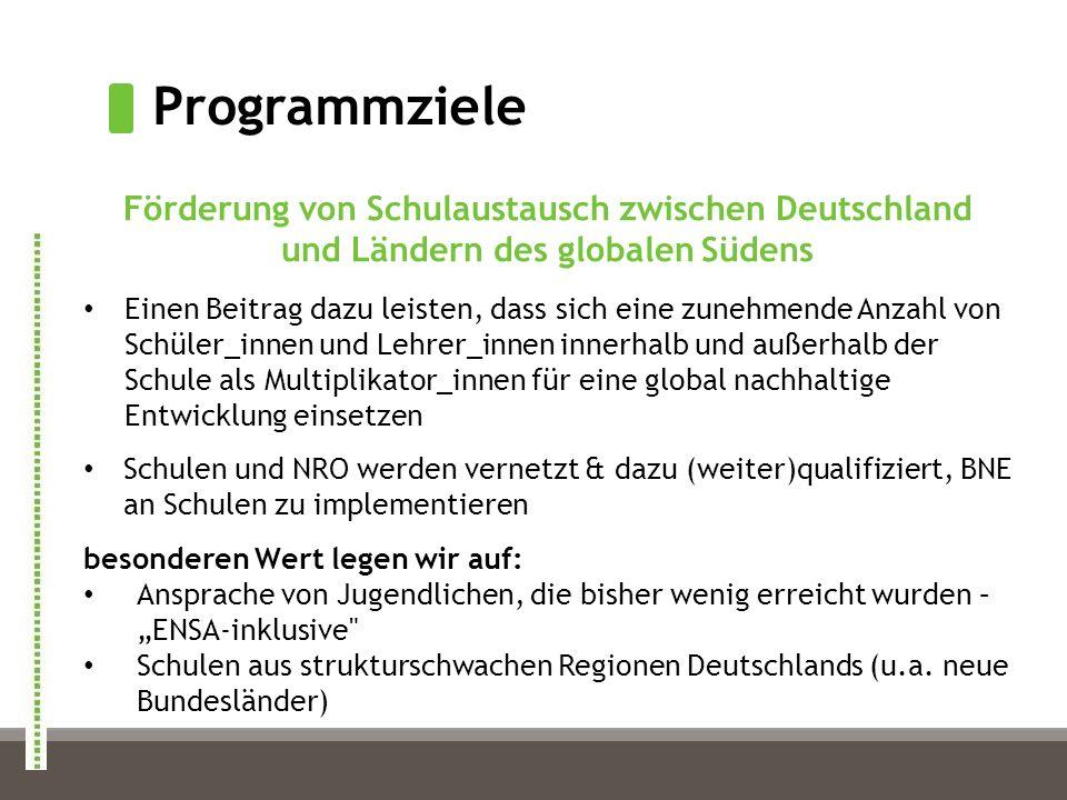 Programmziele Förderung von Schulaustausch zwischen Deutschland und Ländern des globalen Südens Einen Beitrag dazu leisten, dass sich eine zunehmende