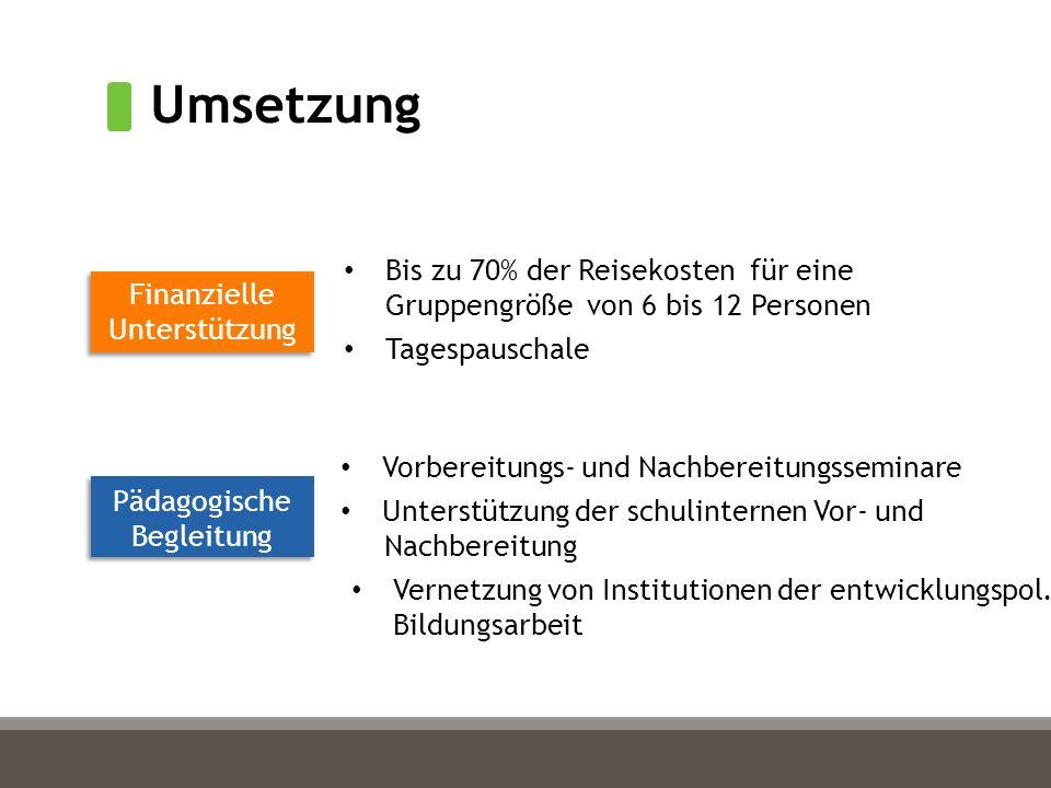Umsetzung Finanzielle Unterstützung Pädagogische Begleitung Bis zu 70% der Reisekosten für eine Gruppengröße von 6 bis 12 Personen Tagespauschale Vorbereitungs- und Nachbereitungsseminare Unterstützung der schulinternen Vor- und Nachbereitung Vernetzung von Institutionen der entwicklungspol.