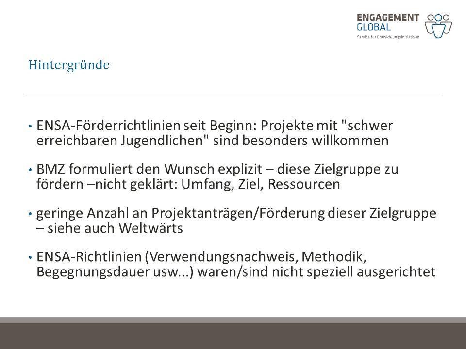 Hintergründe ENSA-Förderrichtlinien seit Beginn: Projekte mit