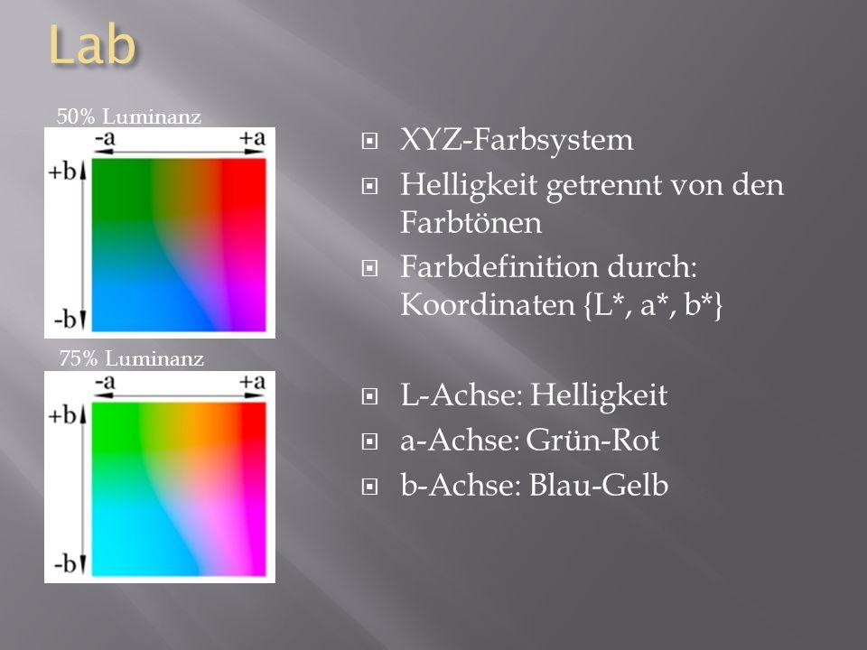 Lab XYZ-Farbsystem Helligkeit getrennt von den Farbtönen Farbdefinition durch: Koordinaten {L*, a*, b*} L-Achse: Helligkeit a-Achse: Grün-Rot b-Achse: