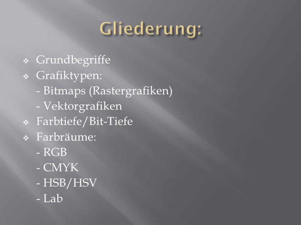 Grundbegriffe Grafiktypen: - Bitmaps (Rastergrafiken) - Vektorgrafiken Farbtiefe/Bit-Tiefe Farbräume: - RGB - CMYK - HSB/HSV - Lab