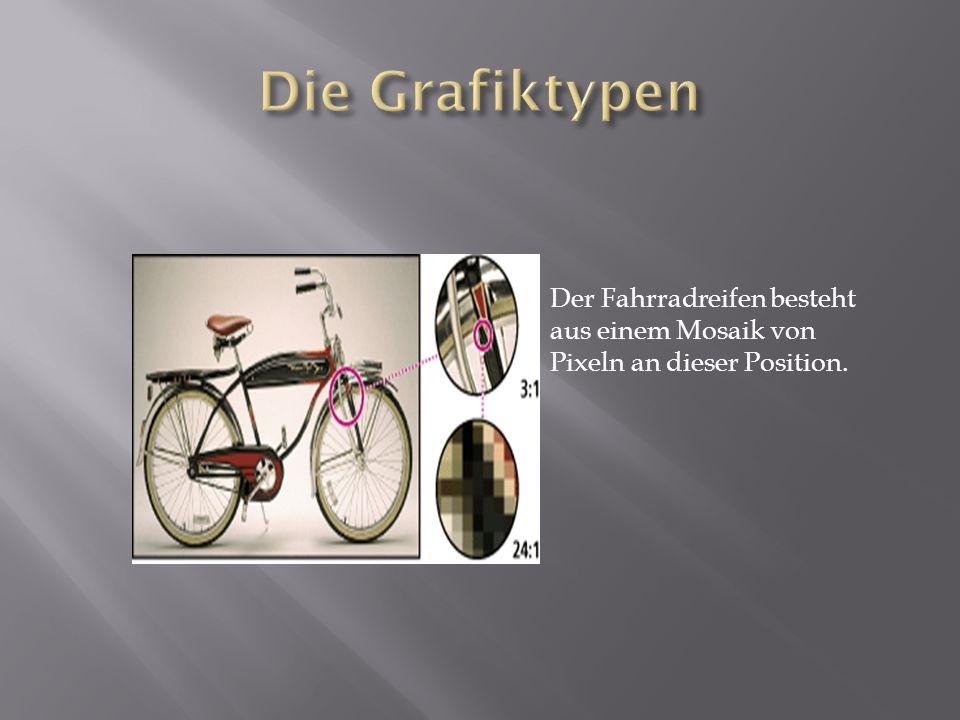 Der Fahrradreifen besteht aus einem Mosaik von Pixeln an dieser Position.