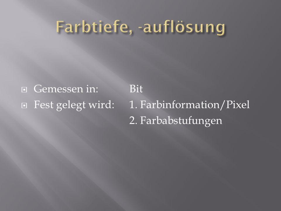 Gemessen in: Bit Fest gelegt wird:1. Farbinformation/Pixel 2. Farbabstufungen