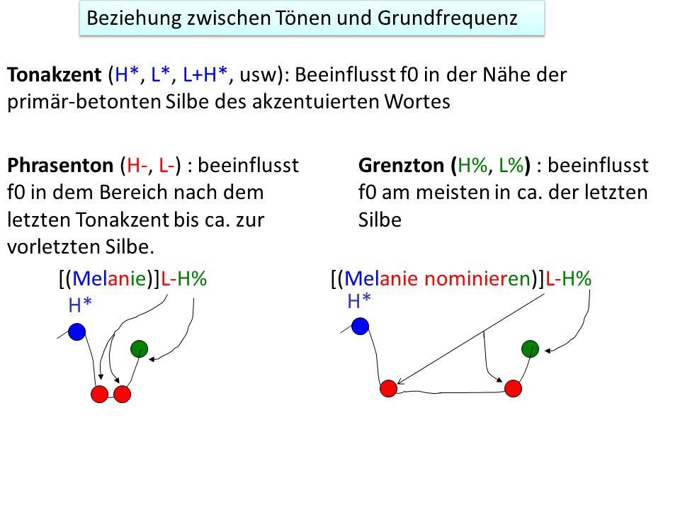 TOBI-Etikettierung Tone: alle Töne (Tonakzente, Phrasentöne, Grenztöne) Break: die Trennung zwischen Wörtern 1 = keine prosodische Trennung 0: keine k