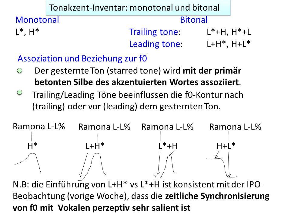 Die getrennten Einflüsse des Phrasen- und Grenztones auf f0 kommen jedoch kaum zum Vorschein, wenn Phrasen- und Grenztöne dieselben Werte haben. [(Mel